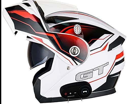 TKTTBD Bluetooth De Motocicleta Casco, Modular De Doble Visera Cascos Integrales ECE Certificado Casco HD Bluetooth Incorporado ABS Duro Calentar Buen Sellado B,XXL