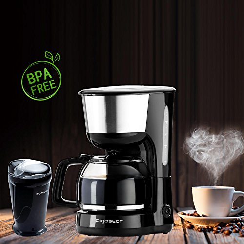 Aigostar - molinillo de cafe y cafetera goteo, negro,BPA free