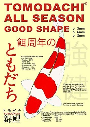 Koifutter, Ganzjahresfutter für Koi jeden Alters, Tomodachi All Season Good Shape Schwimmfutter für Koi 15kg, 5mm Koipellets