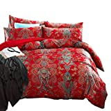 Luxury Floral Bohemian Duvet Cover Set Queen Vintage Jacquard Sateen Cotton Bedding Cover Set Full Smooth Soft Boho Flower Bedding Collection Luxury Red Wedding Comforter Cover Set