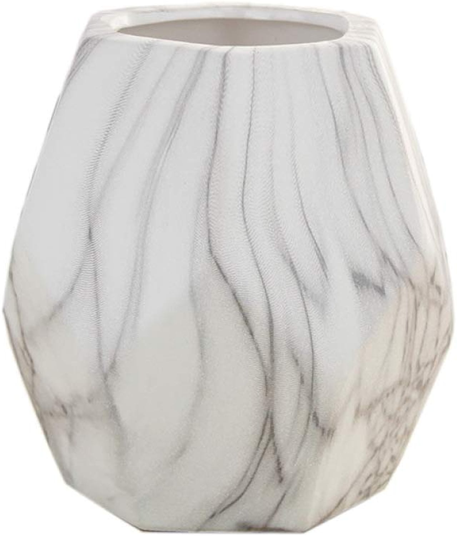 ZXZV Créative Géométrique Hexagonale En Céramique Marbrée à Multiples Facettes Vases,Vases De Décoration Pour La Maison,Convenant Aux Vraies Fleurs Ou Aux Imitations De Fleurs Calibre 7C