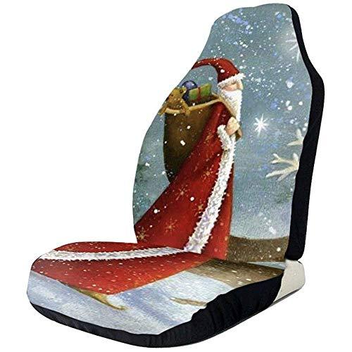 Joe-shop Kerstman met lange hoed bedrukte auto stoelhoes beschermer kussen Premium hoezen voor vrouwen, mannen, meisjes, jongens past de meeste auto's vrachtwagen SUV of van