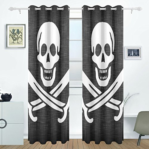 DEYYA Linen Pirate Fla Curtains Drapes Panels Darkening Blackout Grommet Room Divider for Patio Window Sliding Glass Door 55x84 Inches,Set of 2