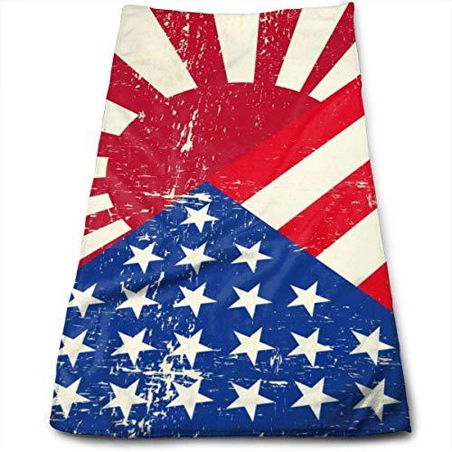 Bandera de Grunge de la Guerra de EE. UU. Y Japón Bandera 3D de Brasil Pelotas de fútbol Toalla de Mano 100% Microfibra Toalla de Playa