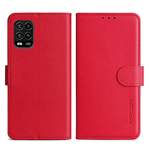 FMPCUON Handyhülle Kompatibel mit Xiaomi Mi 10 Lite 5G/Mi 10 Youth 5G Hülle Leder PU Leder Tasche,Flip Hülle Lederhülle Handyhülle Etui Handytasche Schutzhülle für Mi 10 Lite 5G,Rot