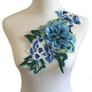 3D Flowers Embroidered Patch Sticker for Clothing Jacket Jeans Lace Applique DIY Clothes Decorations Fabric Patches (Color E Blue)