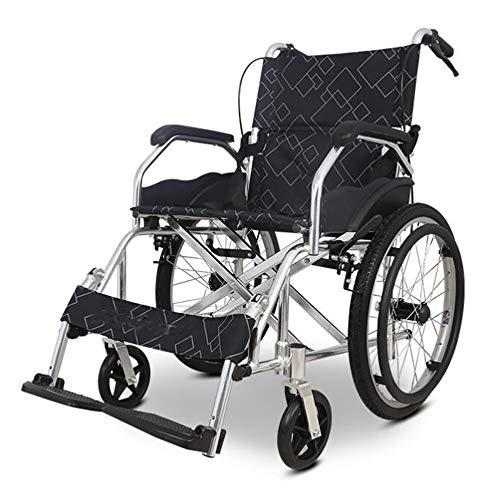 Silla de ruedas autopropulsada plegable ligera Al estilo de auto silla de ruedas, silla de ruedas de aluminio ligero plegable portátil de vuelo de ruedas operadora mayor / lisiado silla de ruedas scoo