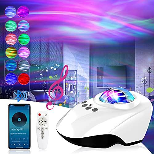 Proyector Estrellas, Proyector de Luz Estelar, Lámpara de Nocturna con Bluetooth y Remoto, 14 Modos Proyector LED Color Reproductor de Música, con Bluetooth/Temporizador/Remoto