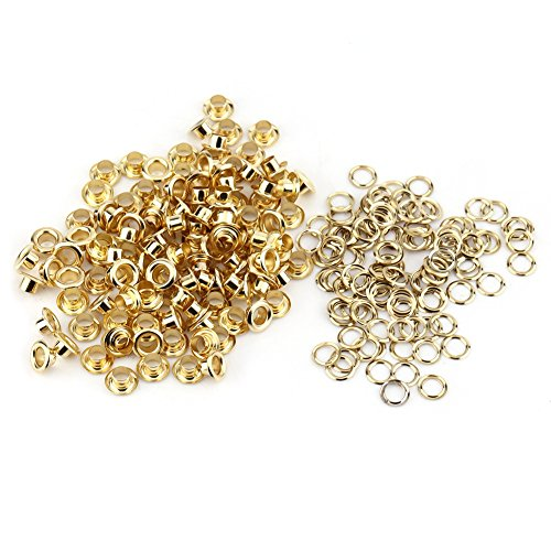 Ösen Nieten, 100 stücke 5mm Metall Ösen und Scheiben für DIY Leder Handwerk Stoff Gürtel Locher Rahmung Dekoration(Gold)