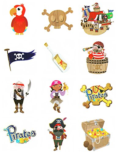 Paquet De 24 de 12 Enfants Enfant Fille Garçon Pirate Tattoo Temporaire Sac Soirée Butin Pinnata Remplisseurs 288 au total