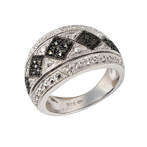 Esse Marcasite Ring Sterling Silber rhodiniert Markasit Pavé Harlequin Größe–P
