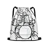 Mochila deportiva con cordón,Música Rock Doodle Dibujo Estilo Boceto Bater, Gym Sackpack para Hombres Mujeres Niños Yoga Travel Camping String Bag.