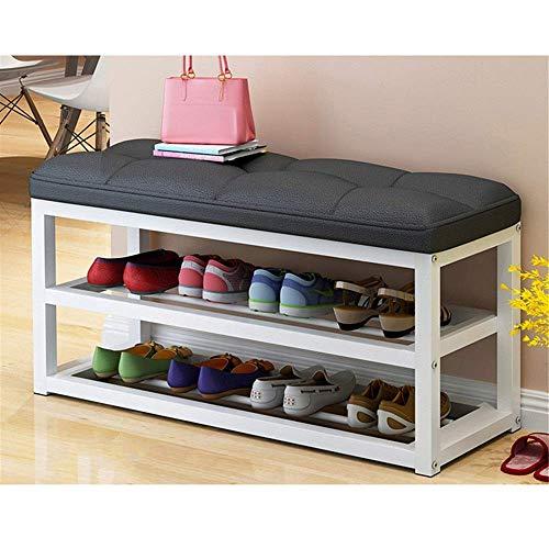 ShiSyan Bastidores de zapatos zapatero simple multi-capa de hogar a prueba de polvo del zapato Gabinete de almacenamiento de hierro forjado Economía Asamblea zapato moderno Banco con patas (Color: Neg