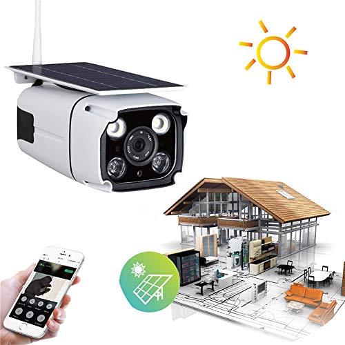 Balscw-J Alarme/Enregistrement de détection de Mouvement de Vision Nocturne avec capteurs solaires alimentés à l'extérieur WiFi sans Fil 1080p HD de caméras solaires alimentées à l'énergie Solaire
