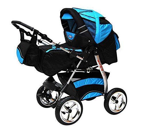 Kinderwagen mit Autositz Isofix alles in einem 3 in 1 Kombikinderwagen King by ChillyKids Cosmic Black & Aqua 3in1 mit Autositz