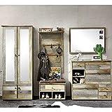 Bonanza Vintage Garderoben Set in Driftwood Optik - Retro Flurgarderobe für Ihren Eingangsbereich - 274 x 188 x 40 cm (B/H/T) - 6