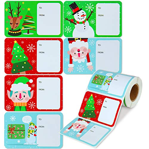 BParty 250Pcs Merry Christmas Stickers,Christmas Tags Santa Snowman Tree Deer Self Adhesive to and from Christmas Labels Deocoration