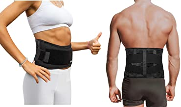 "Copper Compression Slim Back Brace with Extra Support Bars. Guaranteed Highest Copper Infused Braces for Lower Back Pain Relief. Lumbar Waist Support Belt Wrap. Fit for Men and Women (Waist 28"" - 39"")"