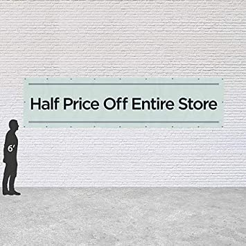 16x4 CGSignLab Half Price Off Entire Store Basic Teal Heavy-Duty Outdoor Vinyl Banner