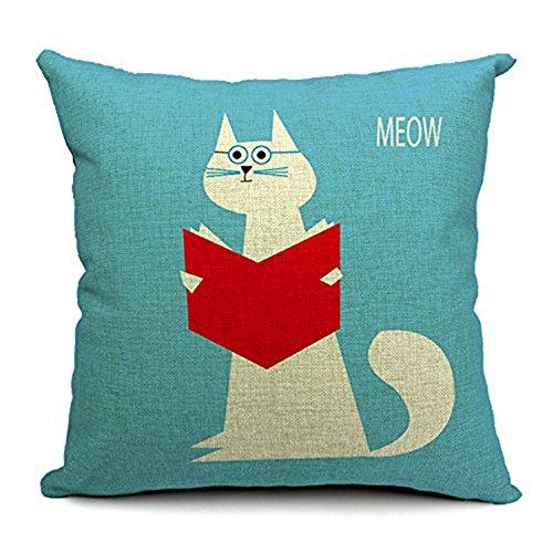 Decorbox Village Cute Cat Cotton Linen Decorative Throw Pillow Cover Cushion Case 18' x 18'
