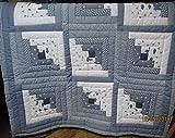 Patchworkdecke, handgequiltet, hellblau, Einzelstück