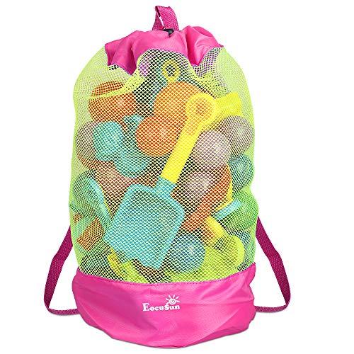 EocuSun Strandspielzeug Tasche Strandtasche Mesh Beach Bag Sandspielzeug Wasserspielzeug Rücksack Beutel für Kleinkind Kinder Jungen Mädchen Badetasche XL groß für Familie Urlaub (pink)