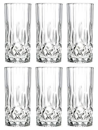 Highball - Glass - Set of 6 - Hiball Glasses - Lead Free Crystal -...