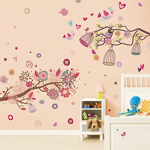 denoda® Vögel, Äste, Vogelkäfig - Farbenfroh - Wandsticker (Wandsticker Wanddekoration Wohndeko Wohnzimmer Kinderzimmer Schlafzimmer Wand Aufkleber)