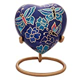Butterfly Heart Urn Keepsake - Small Heart Cremation Urn with Stand & Box - Mini Blue Urn with Butterflies - Honor Your Loved One with Blue Butterfly Urn Heart Shape - Perfect for Adults & Infants