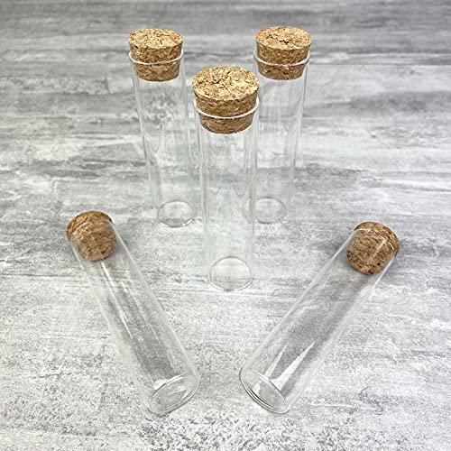 YD-Emballages - Juego de 5 probetas de cristal, 10 cm, diámetro 20 mm, con tapón de corcho, tubo de prueba o Soliflore