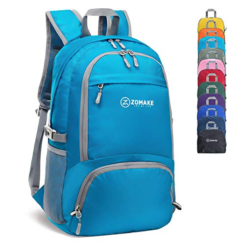 ZOMAKE 30L Lightweight Packable Backpack Water Resistant Hiking Daypack,Small Travel Backpack Foldable Camping Outdoor Bag Light Blue