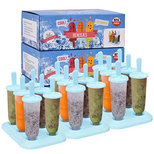 3 Sets Popsicle Molds BPA Free Popsicle Makers with DripGuard Sticks Reusable Homemade Ice Pop Molds for Kids Include Funnel and Cleaning Brush Blue