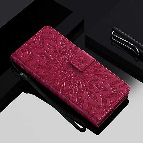 ZXMDP para iPhone 11 Pro MAX Flip Wallet Funda para teléfono para iPhone X XR XS MAX 8 7 6 5 Plus 5S Wallet Holster Tarjeta de Girasol 3D, Rojo, para iPhone 7 Plus