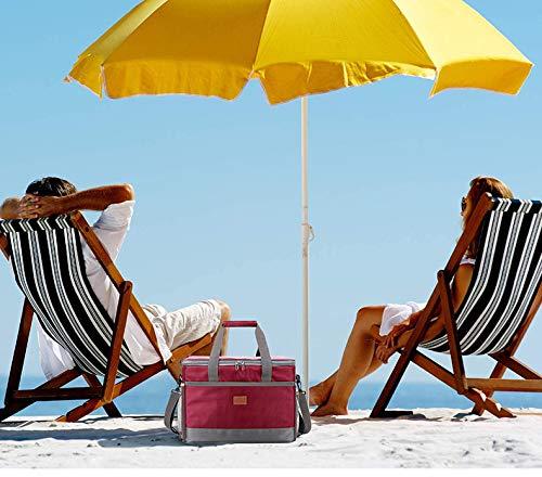 51rhJkHLm9L - Delgeo Bolsa de Picnic, 30L Gran Capacidad Portátil, Adecuado para Hombres y Mujeres, Niños, Bebés, Apta para Viajes, Playa, Picnic, Camping, Barbacoa (Rojo)