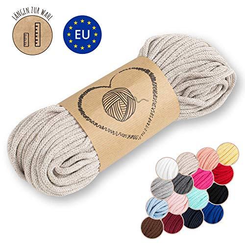 hilo macrame 5 mm trapillo bobinas - cuerda algodon cordon para trenzado tejer a crochet manualidades beige 50 Metros