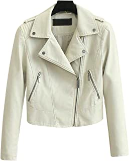 Sentao Women's Casual Classic Lapel Faux Leather Zipper Biker Short Jacket Outwear