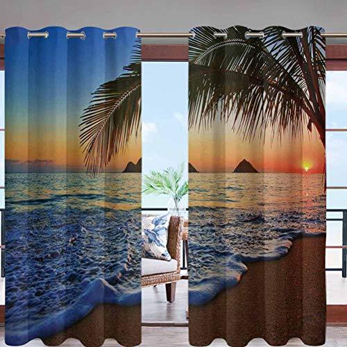 Grommet Blackout Drape Shade Blind Curtain Panel Pacific Sunrise at Lanikai Beach W96 x L84 for Patio, Pergola, Porch, Deck, Lanai, and Cabana
