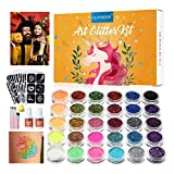 Glitter Tattoo Set GLAMADOR Temporary Tattoo Kit-30 Large Glitter Colors,145 Unique Stencils, Body Nail Glitter Art Paint Birthday Party for Girls Kids Teenager Adult Gift with 2Glue,4 Brushes-Orange