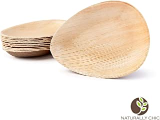 "Naturally Chic Compostable Biodegradable Disposable Plates - Palm Leaf 6.5"" Oval Small Dinnerware Set - Eco Friendly Alternative - Party, Wedding, Event Plates (25 Pack)"