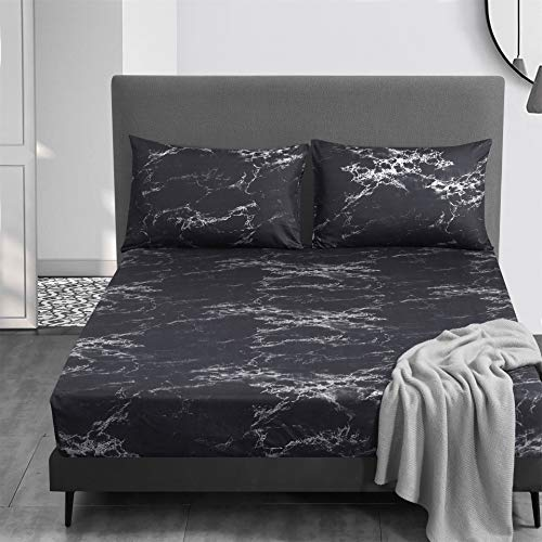 OSVINO 3-piece set fitted sheet (fitted sheet plus 2 pillowcases) 100% microfibre marble pattern fitted sheet, soft, hypoallergenic, wrinkle-resistant, durable, black, 140 x 190 cm