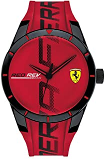 Ferrari Men's Quartz Watch with Silicone Strap, Red, 20 (Model: 0830617)