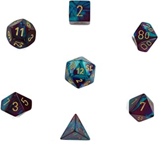 Chessex Manufacturing Cube Gemini Set Of 7 Dice - Purple & Teal With Gold Numbering CHX-26449
