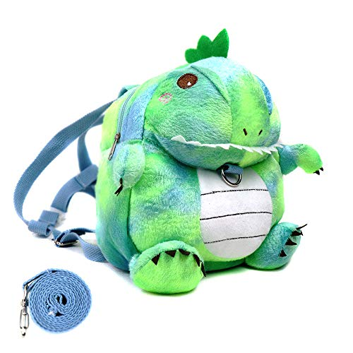 Heltid Small Toddler Backpack with Leash, Plush Cartoon Animals Schoolbag for Children,Cute and Soft (Chameleon)