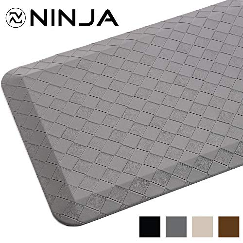 Ninja Brand Premium Anti-Fatigue Comfort Mat, 17x24 Inch, Ergonomically Engineered, Extra Support Floor Pad, Phthalate Free, Commercial Grade, for Kitchen, Gaming, Office Standing Desk Mats, Dark Gray
