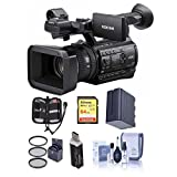 Sony PXW-Z150 Compact 4K Handheld XDCAM Professional Camcorder, 12x Optical Zoom - Bundle With 64GB U3 SDHC Card, Spare Battery, 62mm Filter Kit, Cleaning Kit, Card Reader, Memory Wallet