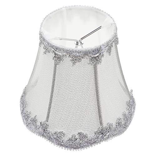 Uonlytech Lámpara de tela con clip en pera, barril para pantalla de lámpara, cubierta para lámpara de mesa, lámpara de araña, varita mágica, lámpara, vela, lámpara de suelo (plateada)