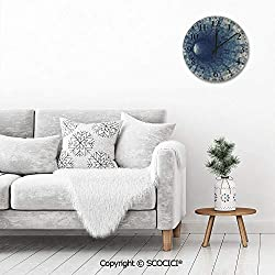 PUYANG 12 Inch Silent Vintage Round Wall Clock Endless Tunnel with Fractal Square Shaped Segment Dimension Arabic Numerals Vintage Rustic Chic Style Wooden Round Home Decor Wall Clock