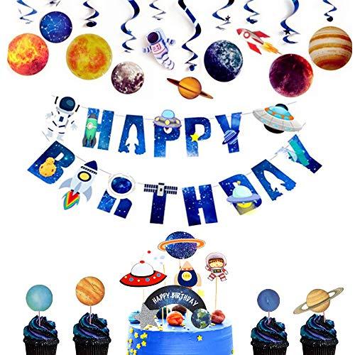 LaVenty Set of 14 Space Party Decoration Space Cupcake Decoration Rocket Cake Decoration Astronaut Cake Decoration for Outer Space Birthday Cupcake Decoration