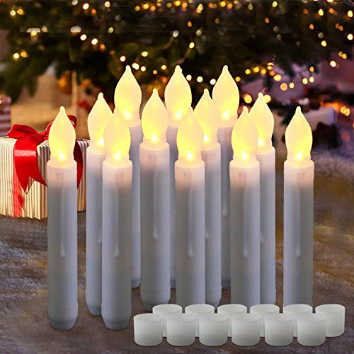 Homemory 6.5 Inches LED Battery Operated Taper Candles, Flickering Flameless Taper Fake Candles, Set of 12 Dripless Warm White LED Handheld Candles Lights for Church Wedding