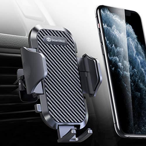 DesertWest Handyhalter fürs Auto Handyhalterung 2020 Upgrade Universale Smartphone KFZ Lüftung Halterung mit Klemmadapter und Einhängeadapter 360° Drehbar für iPhone Samsung HUAWEI Xiaomi LG usw.